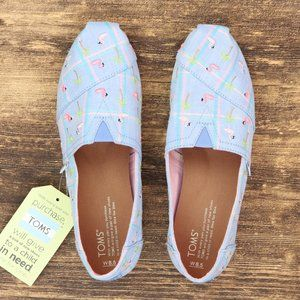 Toms Embroidered Flamingo Slip On Shoes Madras